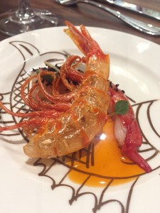 crudo red prawns